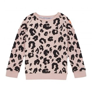 Supersoft Sweatshirt - Dusky Pink - Black Leopard & Lightning Bolt
