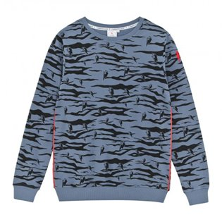 Adult Supersoft Sweatshirt - Navy - Lucky Tiger Print & Neon Piping