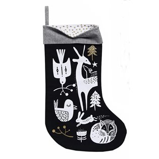 Winter Animals Stocking - Black
