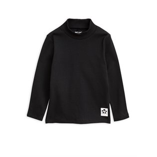 Solid Rib Turtleneck LS Tee - Black