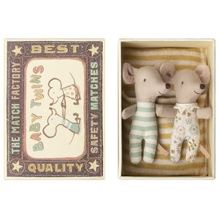 Matchbox Mouse - Baby Twins (Green Stripe)