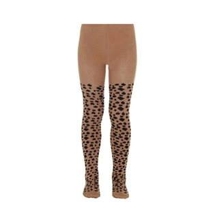 Leo Print Tights - Beige & Black