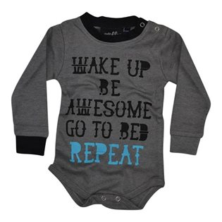 Be Awesome Baby Bodysuit - Grey