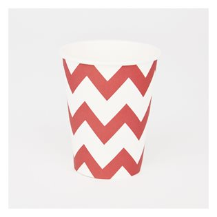 8 Red Chevron Paper Cups