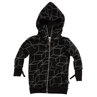 Nununu Long Grid Gloved Hoodie - Black