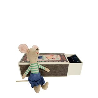 Maileg Matchbox Mouse - Big Brother in Denim
