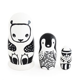 Nesting Dolls - Black & White Animals