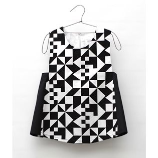 Motoreta Angle Blouse - Black Tangram in White