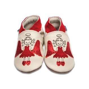 Angel Baby Shoes - Cream/ Red Glitter