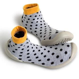 Neo Slippers - Grey with Black Spot