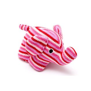 Knitted Elephant Rattle Pink
