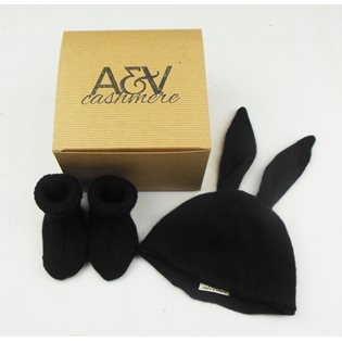Rabbit Hat & Booties Giftset - Black