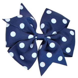 Pinwheel Bow - Navy Polka Dot
