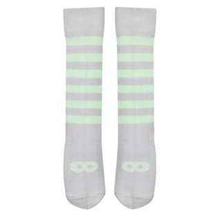 Beau Loves Dove Grey Knee High Socks - Pale Lime Mask & Stripe