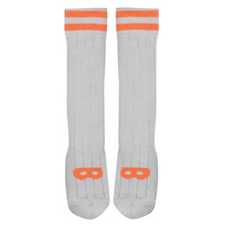 Beau Loves Dove Grey Knee High Socks - Neon Orange Mask