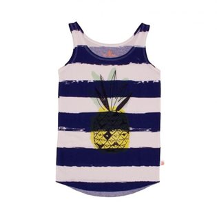 Noe & Zoe Loose Tank - Kobalt Stripes w/Pineapple