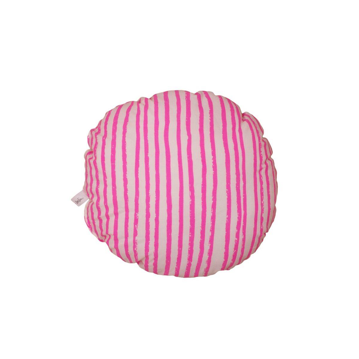 Monkeymccoy Noe Amp Zoe Circle Pillow Neon Pink Stripes