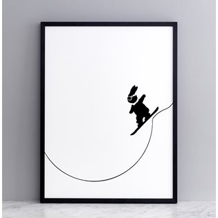 Snowboarding Rabbit Screen Print