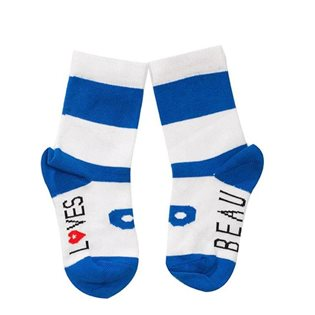 Beau Loves Maxi Stripe Ankle Socks - White / Blue