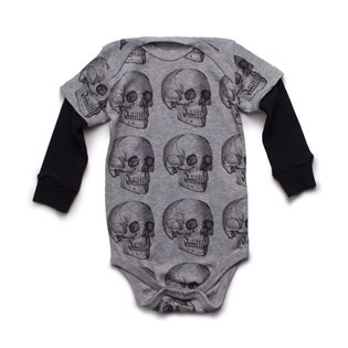 Nununu MD Skull Onesie - Heather Grey