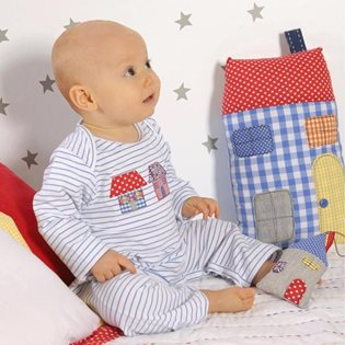 Blue and white striped Babygrow with house