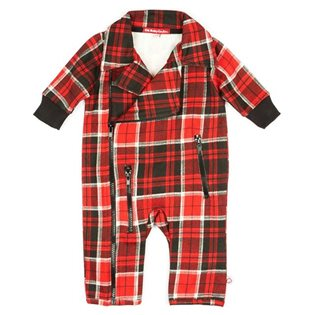 Biker Playsuit - Red Plaid