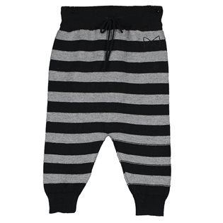 Tricot Trousers - Black & Grey Melange Stripes