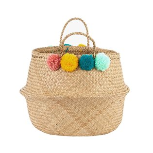 Pom Pom Basket - Teal, Pink, Yellow & Mint