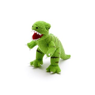 Knitted Mini T-Rex Rattle - Green