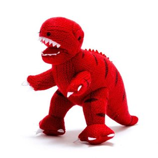 Knitted Mini T-Rex Rattle - Red