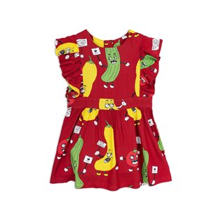 Veggie Woven Ruffled Dress - Red