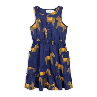 Horse Woven Flounce Dress - Navy