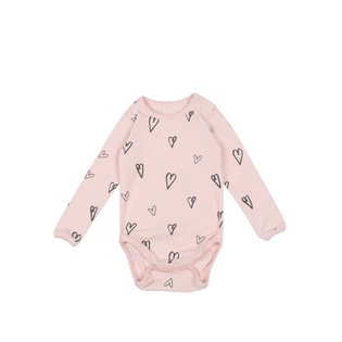 Hearts AOP Baby Body LS - Soft Pink