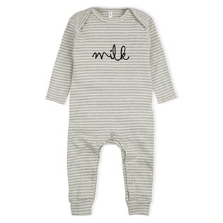 Milk Playsuit - Grey Stripes
