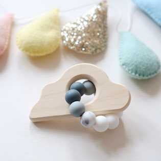 Cloud Wooden Bead Rattle