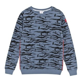 Supersoft Sweatshirt - Navy - Black Lucky Tiger Print & Neon Piping