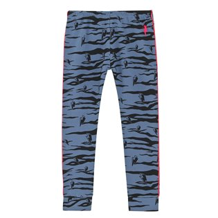 Chill Out Leggings - Navy With Black Lucky Tiger & Neon Piping