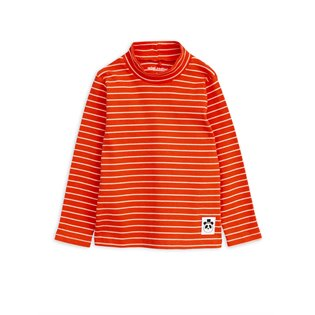 Stripe Rib Turtleneck LS Tee - Red