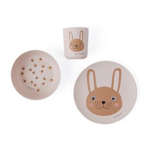 Rabbit Bamboo Tableware set - Rose