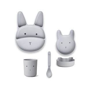 Jules Junior Bamboo Set - Rabbit Dumbo Grey