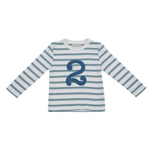 Ocean Blue & White Breton Striped Top With Age