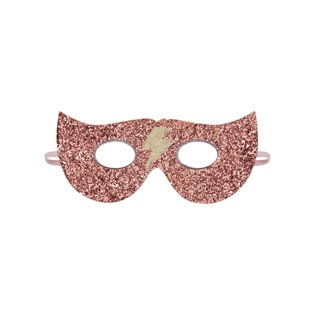 Glitter Lightning Superhero Mask - Pink