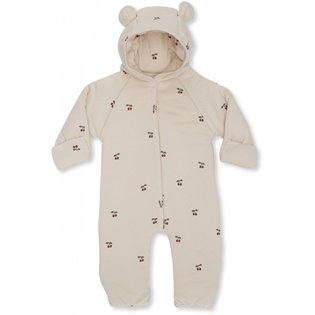 New Born Onesie With Hood - Cherry / Blush