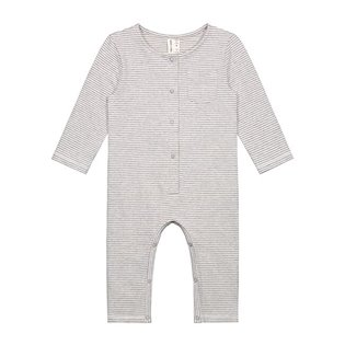 Baby L/S Playsuit - Grey Melange/Cream Stripe