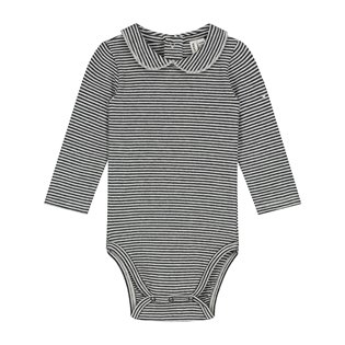 Baby Collar Onesie - Nearly Black/Cream Stripe