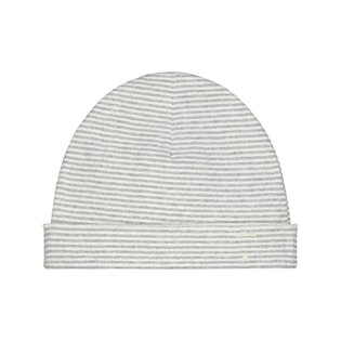 Baby Beanie - Grey Melange/Cream Stripe