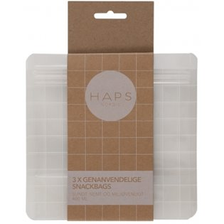 Haps Nordic Reusable Snack Bags 400ml - Transparent Check