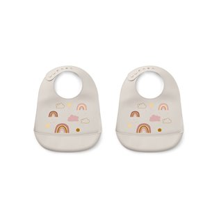 Tilda Silicone Bib 2-Pack - Rainbow Love Sandy