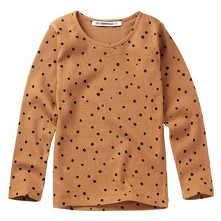 Dots Rib Long Sleeved Top - Caramel / Black