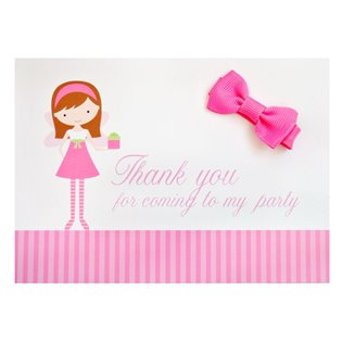 Girls Party Bag Filler Cards with Hair Bows